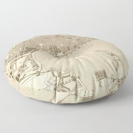 Vintage Map of Messina Italy (1900) Floor Pillow