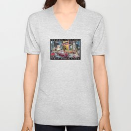 Times Square II (widescreen on black) Unisex V-Neck