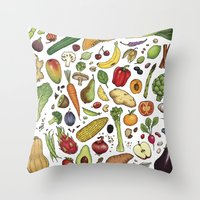 food Throw Pillows featuring Food by Sam Magee