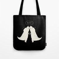 hug Tote Bags featuring Hug by I Love Doodle