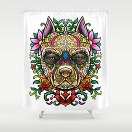 Pitbull Sugar Skull - Dias De Los Muertos Shower Curtain
