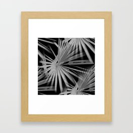Gray Grey On Black Tropical Vibes Beach Palmtree Vector Framed Art Print