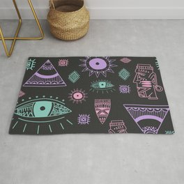 Traditional African hieroglyphs  pattern. Distressed effect. Rug