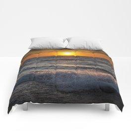 Lake Michigan Sunset with Crashing Shore Waves Comforters