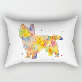 Australian Terrier Dog Watercolor Painting Rectangular Pillow