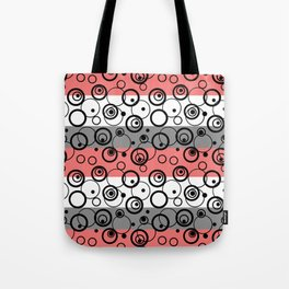 Circles and rings on striped background Tote Bag