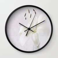 lily Wall Clocks featuring Lily by Fine Art by Rina