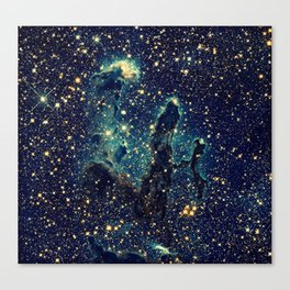 Pillars of Creation GalaxY  Teal Blue & Gold Leinwanddruck