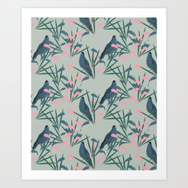 Kokako Wallpaper Pattern Art Print