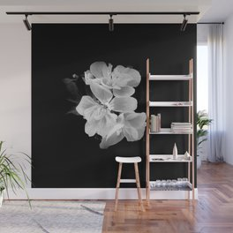 Black and white geranium still-life, Modern minimalist dark moody botanical flower Wall Mural