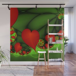 Dancing Red Hearts Fractal Art Wall Mural