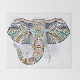 Colorful Ethnic Elephant Throw Blanket