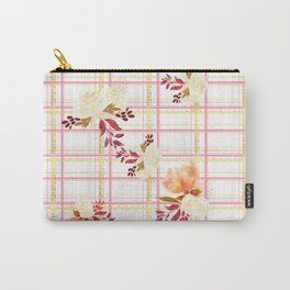 Lovely floral print with text based tartan print - Love tartan Carry-All Pouch