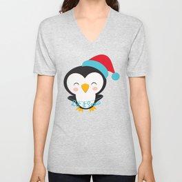 Christmas Penguins Let it Snow Christmas Penguin Unisex V-Neck