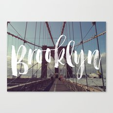 Brooklyn Bridge Photography and Calligraphy Canvas Print