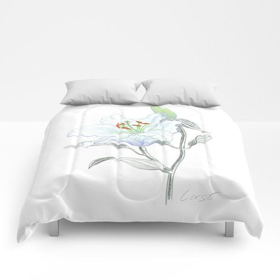 Lily 01 Botanical Flower * White Casablanca Lily Comforters