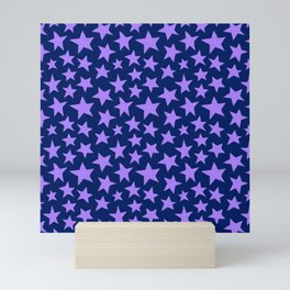 Indigo Doodle Stars Mini Art Print