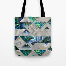 Abstract Geometric Abalone and Mother of pearl Tote Bag