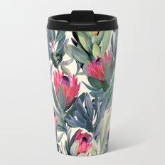 Painted Protea Pattern Travel Mug