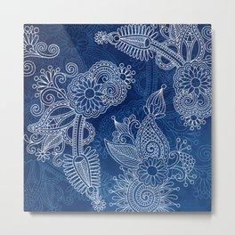 Indigo Henna Metal Print