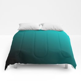 Gradient Aqua and Black Comforters