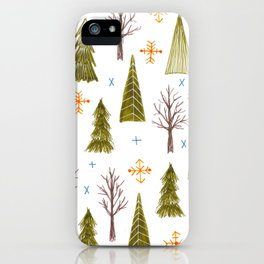woodsy winter pattern iPhone Case