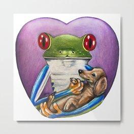 """""""Frog and Dog"""" - Frog Life collection Metal Print"""