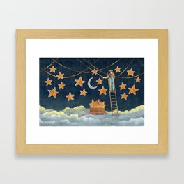 Night janitor Framed Art Print
