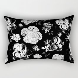 Black and White beaded flower print by Annalee Beer Rectangular Pillow