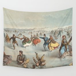 Vintage Central Park Ice Skating Painting (1861) Wall Tapestry