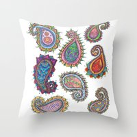 paisley Throw Pillows featuring Paisley by WelshPixie