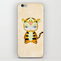 tigger iPhone & iPod Skins featuring A Boy - Tigger by Christophe Chiozzi