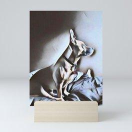 Dog Lovers - Portrait of a Pit Bull German Shepherd Cross Breed puppy in Watercolor Mini Art Print