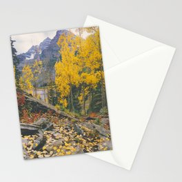 Aspen Leaves,Maroon Bells above Maroon Lake, Colorado Stationery Cards