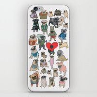 pugs iPhone & iPod Skins featuring Pugs by Yuliya
