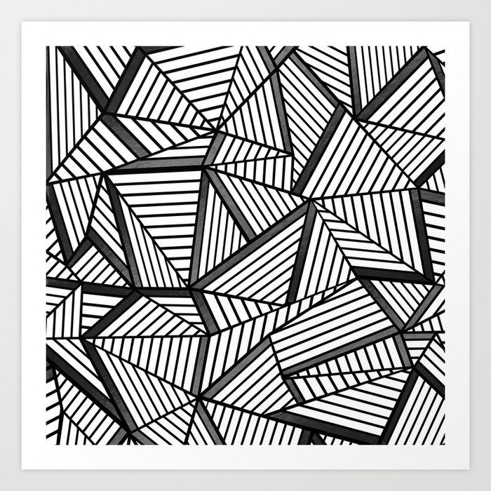 Ab Lines 2 Black and White Art Print