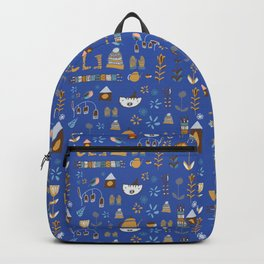 hygge cat and bird blue Backpack