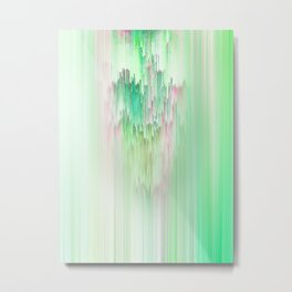 Abstract Cascade Glitch 1.Green Metal Print