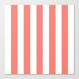 Tea rose pink - solid color - white vertical lines pattern Canvas Print