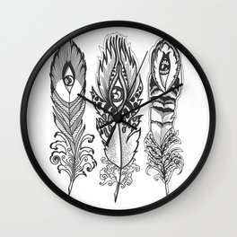 bizarre feathers with eyes Wall Clock