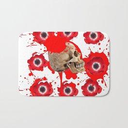 BLACK BLOODY RED EXPLODING BLOOD POPPIES SKULL ART Bath Mat