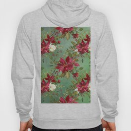 Burgundy red forest green white watercolor Christmas flowers Hoody