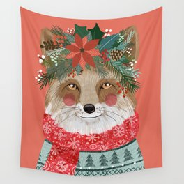 Christmas Fox with Winter floral crown Wall Tapestry