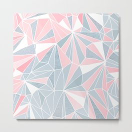 Cool blue/grey and pink geometric prism pattern Metal Print