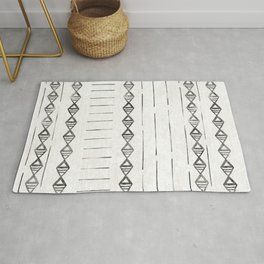 Mudcloth Print 2, in black and off white Rug