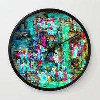 boyfriend Wall Clocks featuring BOYFRIEND SWEATS -2- by Glint & Lime Art