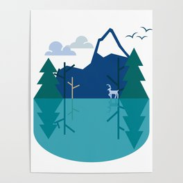 Oh Deer Reflections Poster