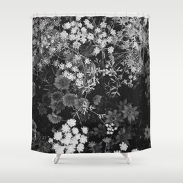 The Flowers (Black and White) Shower Curtain