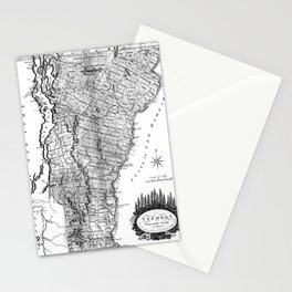 Vintage Map of Vermont (1814) BW Stationery Cards