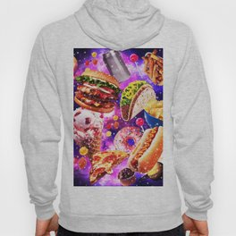 Junk Food Sparkly in Ggalaxy Space Cosmos for Hungry Traveler Burger Taco Sweets Pizza Hoody